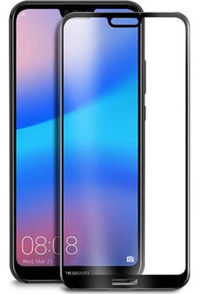 KNY Huawei P20 Lite Full Yapışan Renkli Cam Ekran Koruyucu Siyah