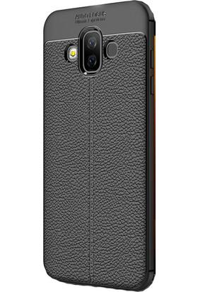 KNY Samsung Galaxy J7 Duo Kılıf Deri Desenli Lux Niss Silikon + Nano Cam Ekran Koruyucu