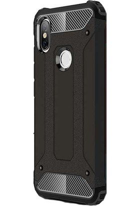 KNY Xiaomi Redmi S2 Kılıf Çift Katmanlı Armour Case + Cam Ekran Koruyucu