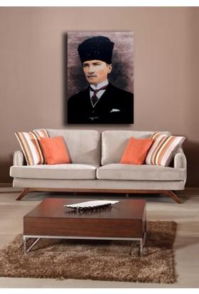 Veronya 3D Dijital Baskı, Led Işıklı Kanvas Tablo, Atatürk ve Türk Bayrağı 40x60