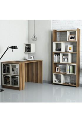 Variant Mobilya Box Çalışma Masası Ve Kitaplık Takımı - Ceviz / Krem