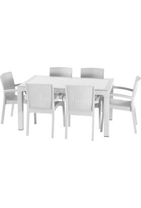 Violet 90*150 Raddan Trend Lüx Camlı Masa Takımı 6 Sandalyeli Beyaz