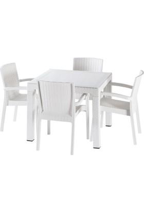 Violet 90*90 Raddan Trend Lüx Camlı Masa Takımı 4 Sandalyeli Beyaz