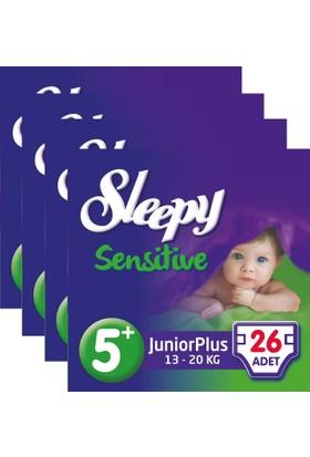 Sleepy Sensitive Bebek Bezi 5+ Beden Junior Plus Jumbo Paket 26X4 104 Adet