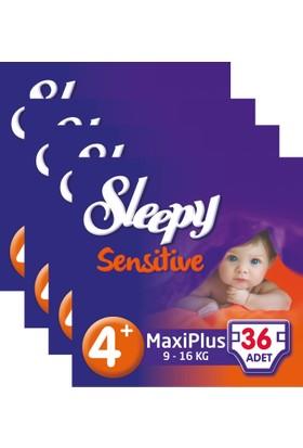 Sleepy Sensitive Bebek Bezi 4+ Beden Maxi Plus Jumbo Paket 36X4 144 Adet