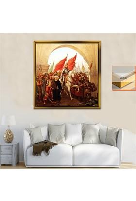Dekorme Altın Çerçeveli Fatih Sultan Mehmet Kanvas Tablo