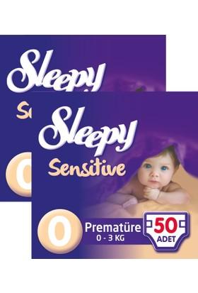 Sleepy Sensitive Bebek Bezi Premature 0 Beden Jumbo Paket 50X2 100 Adet