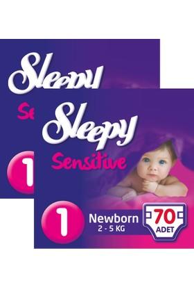 Sleepy Sensitive Bebek Bezi Yeniodoğan 1 Beden Jumbo Paket 70X2 140 Adet