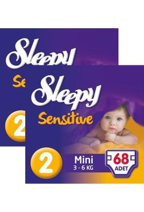 Sleepy Sensitive Bebek Bezi 2 Beden Mini Jumbo Paket 68X2 136 Adet