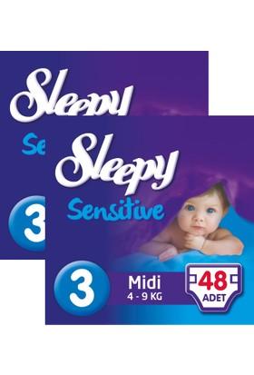 Sleepy Sensitive Bebek Bezi 3 Beden Midi Jumbo Paket 48X2 96 Adet