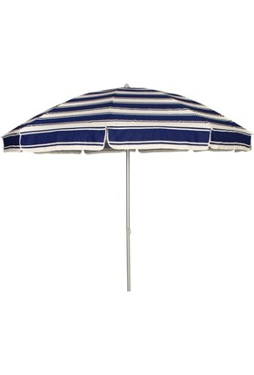 Primera Plaj Şemsiyesi 200 Cm Lacivert Çizgili Pamuklu Kumaş ( Bidonsuz )
