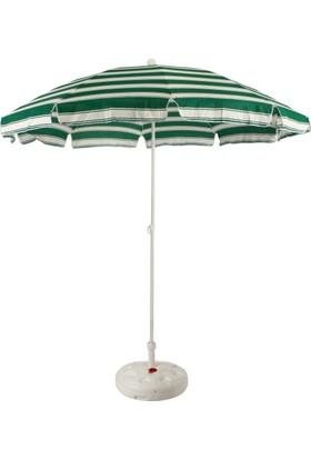 Primera Plaj Şemsiyesi 200 Cm Yeşil Çizgili Pamuklu Kumaş ( Bidonlu )