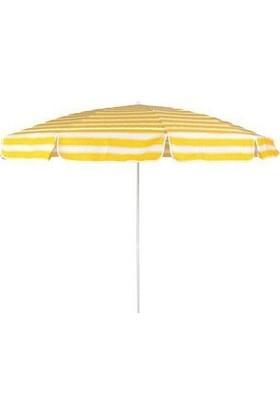 Primera Plaj Şemsiyesi 200 Cm Sarı Çizgili Pamuklu Kumaş ( Bidonsuz )