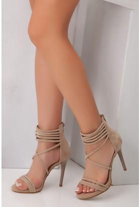 Tarçın TRC01-0051 Kadın Taş Süet Topuklu Ayakkabı