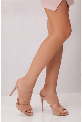 Tarçın TRC01-0104 Kadın Pudra Süet Topuklu Ayakkabı