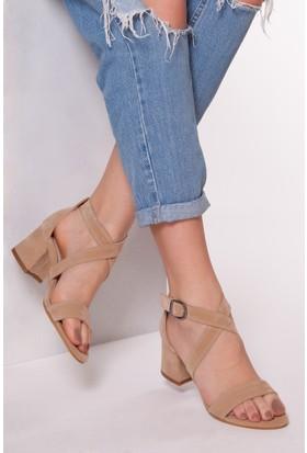 Tarçın TRC01-0110 Kadın Taş Süet Topuklu Ayakkabı