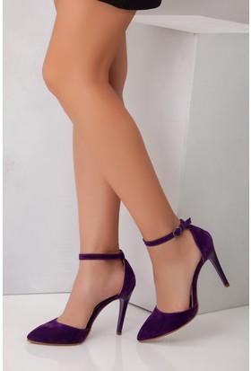 Tarçın TRC01-0137 Kadın Mor Süet Topuklu Ayakkabı