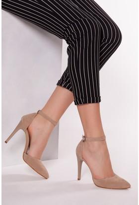 Tarçın TRC01-0137 Kadın Taş Süet Topuklu Ayakkabı