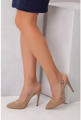 Tarçın TRC01-0138 Kadın Taş Süet Topuklu Ayakkabı
