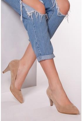 Tarçın TRC01-0139 Kadın Taş Süet Topuklu Ayakkabı