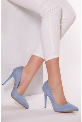 Tarçın TRC01 Kadın Mavi Süet Stiletto