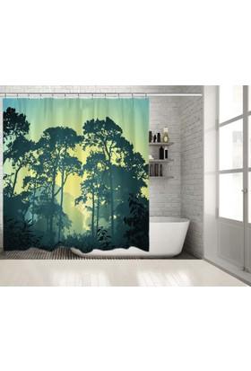 Orman Ağaç Desenli Sarı Yeşil Siyah Mavi Duşperdesi