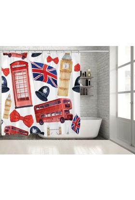 Sulu Boya Etkili Londra Desenli Kırmızı Duşperdesi
