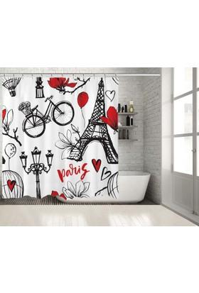 Paris Aşk Eyfel Kulesi Deseni Kırmızı Siyah Duşperdesi