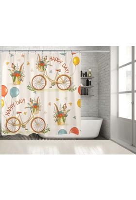 Şirin Sepetli Bisiklet Desenli Turuncu Sarı Duşperdesi