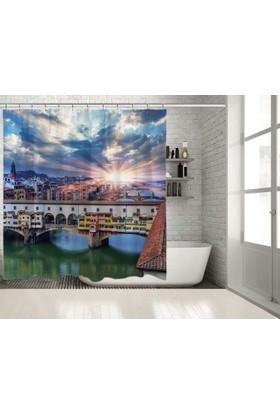 Floransa Nehir Köprü Manzara Desenli Duşperdesi