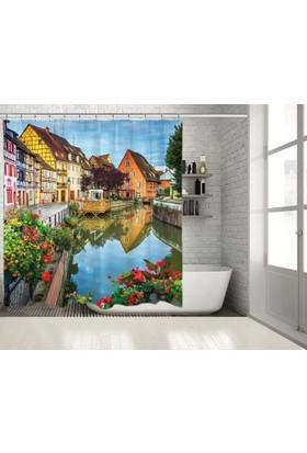 Fransa Renkli Evler Nehir Kenarı Manzaralı Duşperdesi