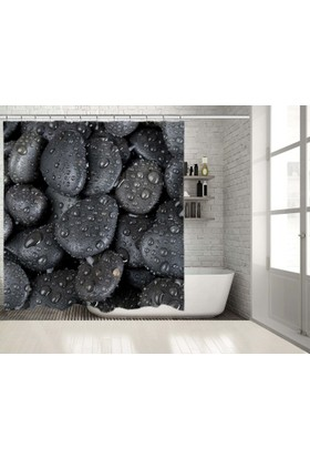 Spa Taşları Siyah Gri Damlacık Desenli Duşperdesi
