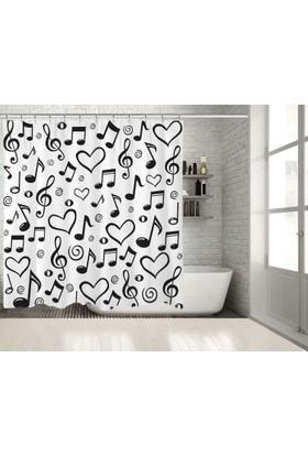 Siyah Beyaz Müzik Nota Kalp Desenli Yastık Duşperdesi