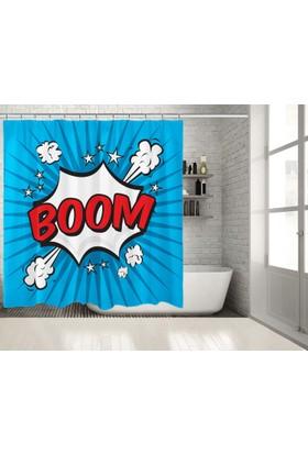 Popart Boom Deseni Mavi Duşperdesi