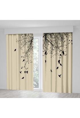 Kuşlu Kavak Ağaç Desenli Siyah Krem Rengi Fon Perde