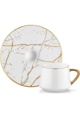 Koleksiyon Sufi Beyaz Mermer 6 Lı Türk Kahvesi Fincanı