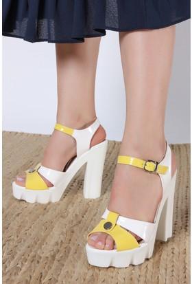 Rovigo Kadın Beyaz - Sarı Sandalet 1111631120