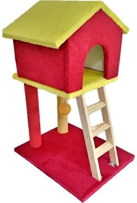 Pet Style Süngerli Oyuncaklı Merdivenli Galatasaray Dekoratif Kedi Tırmalama Evi
