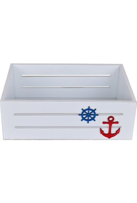 Utyawood Marine Beyaz Ahşap Dekoratif Kutu