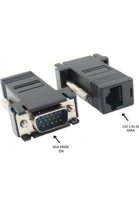 Zoomex SS-4055 Extender VGA Erkek TO LAN CAT5E RJ45 Dişi 2'li Adaptör