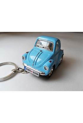 Hediye Aşkı Kişiye İsme Özel Mavi Plakalı Metal Vosvos Anahtarlık Beetle Volkswagen