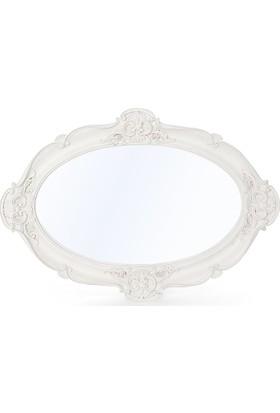 Maison White Decor Kulpsuz Oval Belgüzar Aynalı Tepsi