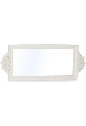Maison White Decor Kulpsuz Dikdörtgen Gül Buket Aynalı Tepsi