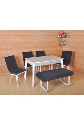 Mobayz 6 Kişilik 4 Sandalye 1 Bench Sabit Ahşap Masa Takımı Yemek Masası Takımı Bank Takımı - Siyah