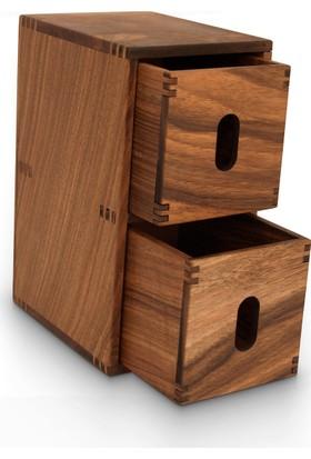 Woodsaka Sate Çok Amaçlı İki Çekmeceli DolapKalem Kutusu