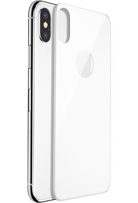Lito 3D Full Cover iPhone X Cam Ekran Koruyucu Arka / Beyaz LT05-IPX-A-B
