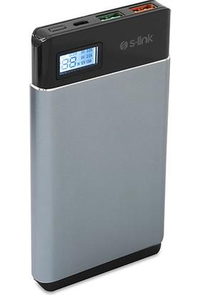 S-Link Qualcomm 3.0 Hızlı Şarjlı 10000 mAh Powerbank Şarj - Gri IP-QC3-10-G