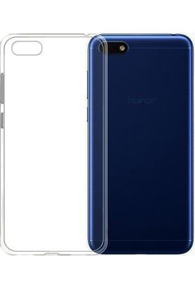 Happyshop Huawei Y5 2018 Kılıf Ultra İnce Şeffaf Silikon + Cam Ekran Koruyucu