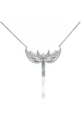 GriGümüş Mikail'in Kılıcı Melek Kanadı Gümüş Kolye