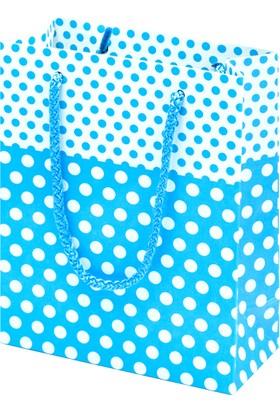 Çanta Boy Özel Puantiye Desenli Mavi Karton Taşıma Çantası - 25'li